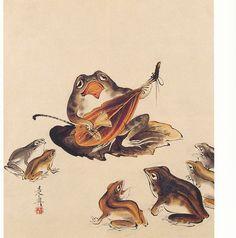 Illustration of frogs from 墨林筆哥 (Bokurinhikka) (1878–88) – 柴田是真 (Shibata Zeshin)