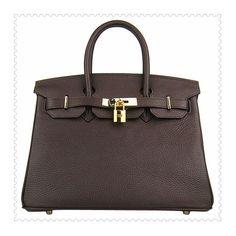 Hermes Birkin Handbag Chocolate Golden online -... via Polyvore