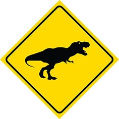 Aluminum Yellow Diamond Caution Dinosaur T-Rex Crossing Signs Commercial Metal Square Sign: This yellow diamond caution diamond sign is great for attracting attention. Great for business, decoration, garage, or anywhere you need safety and attention!