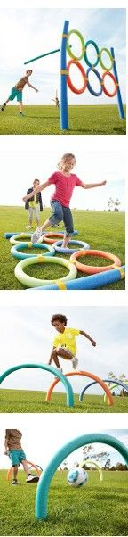 """1) DIY TARGET: • Duct-tape 6 rings to ea other, then tape them to 3 1/2""""W hollow pool noodle posts. • Stand it upright: Hammer two 1/2"""" dowels (ours were 48"""" long) securely into the ground slide the posts on top. Throw noodle javelins, balls, water balloons, etc. 2) AGILITY:  Lay 1) on side & take turns timing ea other. 3) AGILITY COURSE; 4) WICKET COURSE."""