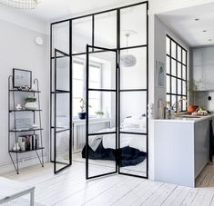 Chic Glass Partition Design Ideas For Your Living Room Modern Studio Apartment Ideas, Apartment Interior Design, Interior Exterior, Modern Interior Design, Room Interior, Studio Apartment Kitchen, Small Apartment Design, Contemporary Apartment, Contemporary Interior