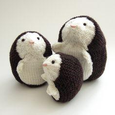 cute knit hedgehog family