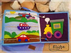 "Workshop Elifçe: Developmental book ""First of all planes . Felt Books, Quiet Books, Felt Mushroom, Quiet Book Patterns, Books For Boys, Busy Book, Handmade Toys, Book Activities, Educational Toys"