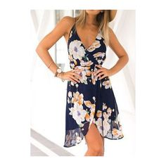 Rotita Navy Blue Floral Print Spaghetti Strap Surplice Wrap Dress (36 BAM) ❤ liked on Polyvore featuring dresses, navy blue, white wrap dress, navy wrap dress, spaghetti strap dress, white mini dress and navy dress