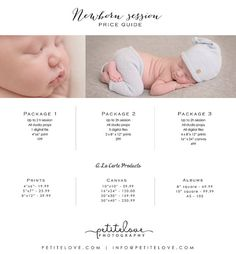 Newborn Session Price Guide Photography Tools, Price Guide, Newborn Session, Album, Digital, Handmade Gifts, Prints, Baby, Cards