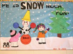 "What a creative idea to use different sports balls and a cone to create a snowman for a P.E. winter bulletin board display with the title:  ""P.E. is SNOW Much Fun!"""