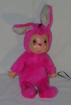 "Vintage ELKA Toys Rubber Face Pink Bunny Plush Toy Doll 10"" Tall #ElkaToys"