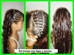 Resultado de imagen para trenzas con bucles Down Hairstyles, Girl Hairstyles, Girls Hairdos, Half Up Half Down Hair, My Princess, Hair Beauty, Dreadlocks, Hair Styles, Hair Ideas