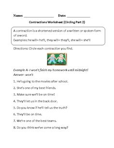 Spanish Beginners Worksheets Excel Contractions Worksheet Circling Part  Intermediate  Englishlinx  Superteachers Worksheet Excel with Worksheet On Living Things Pdf Circling Contractions Worksheet Part   Worksheetssecond Grade Rock Worksheets Excel