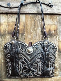 Brown and black with vintage gypsy cowgirl handle cowboy boot purse by www.Diamond57.com