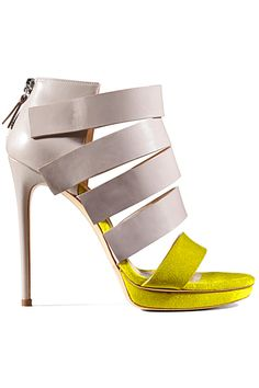 Casadei Yellow  Beige Strappy Stiletto Sandal Resort 2014 #Shoes #Heels