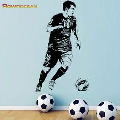 Football Soccer Player Action Custom Wall Art Sticker Decal Mural Removable Vinyl Gym Sports Wall Art Kids Boy Bedroom Art  D520