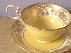 Antique gold tea cup and saucer set, vintage 1920's Hammersley English bone china tea set, yellow tea cup.