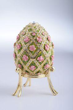 Pink Roses Faberge Egg Trinket Box Handmade by Keren Kopal Decorated with Swarovski Crystals