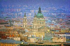 St Stephen's Basilica From Gellert Hill Painterly - Joan Carroll  #budapest #churches #cityscape