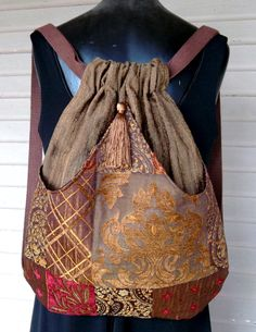 Backpack Brown and Gold Metallic Patchwork. $45.00, via Etsy.