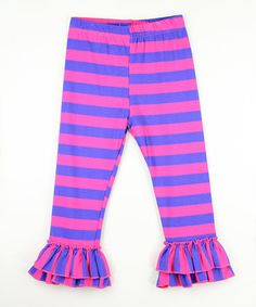 Look what I found on #zulily! Pink & Purple Stripe Ruffle Pants - Infant, Toddler & Girls #zulilyfinds