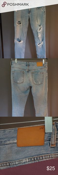 Zara light wash distressed skinny jeans. Super trendy Zara distressed Jean. Great fit really flattering on and easy to dress up or down. Zara Jeans Skinny
