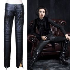 Mens Womens Black Punk Rock Faux Leather Clothing Tight Pants