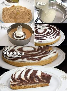Zebra Pudding Recipe, How To - Womanly Recipes, Cold Desserts, Chocolate Desserts, Pasta Cake, Yummy Ice Cream, Bakery Cakes, Turkish Recipes, Creative Cakes, Creative Desserts, Pudding Recipes