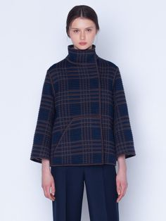 Jacket in wool silk plaid SG embroidery, mock neck, snap closure and detailed with patched pockets Silk Taffeta, Silk Crepe, Mock Neck, Parka, Cashmere, Turtle Neck, Plaid, Closure, Pockets