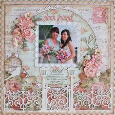 Wedding layout - this is lovely . i love the scrollwork fence, birdcage and dove, round element above framed with flowers, the unless it is significant is distracting to my eye, love the colors and scalloped and doily work - very nice layout Wedding Scrapbook Pages, Scrapbook Cards, Friend Scrapbook, Scrapbook Expo, Scrapbook Photos, Scrapbook Sketches, Scrapbook Page Layouts, Scrapbook Templates, Etiquette Vintage