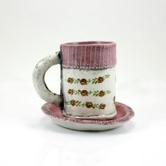 Espresso Mug | coffee mug tea cup with saucer | matte orchid purple rose pink with floral decals | sweater cuff design | in stock