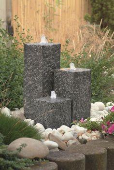 Ubbink Gartenbrunnen Siena mit Pumpe und Anschluss, Granitsäulen, LED, NEUWARE   eBay