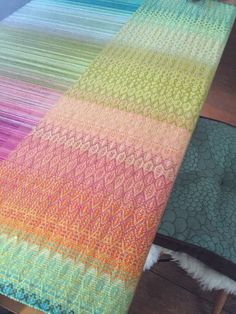 Advancing Parallel threading color grad baby wrap handwoven (2 different threading across the warp)