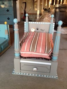 Cuteness overload at it's finest! Dog Furniture, Repurposed Furniture, Home Decor Furniture, Diy Dog Bed, Dog Beds, Fancy Bed, Luxury Pet Beds, Old Dressers, Cat Accessories