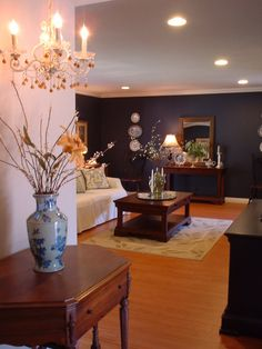 Navy Accent Wall In My Family Room Pottery Barn Navy Blue