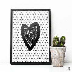 Printable / Plakat Heart / schwarz von sppiy auf Etsy
