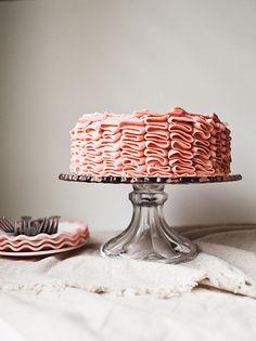 chocolate cake with strawberry buttercream <3