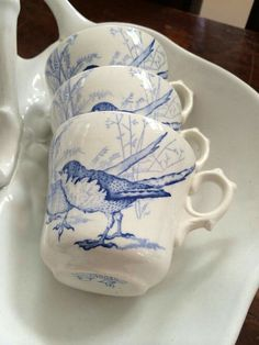 blue bird cups - little details like these are significant. My own cup and my own tea. Blue And White China, Blue China, Love Blue, Blue Dishes, White Dishes, China Patterns, White Decor, Chinoiserie, Bluebirds