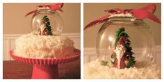 Fun festive Red Velvet Snow Globe Cake. Homemade cream cheese frosting recipe, and a trick to make a box cake mix taste like a yummy bakery cake!! Seriously sooooo good! The Jones Way...check it out at stamps4fun.blogspot.com