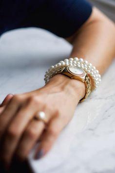 Watch, DKNY, golden, pearl