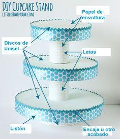 Aprende a crear un exhibidor o stand para cupcakes usando latas y círculos de cartón o unisel. Es una idea perfecta para usarse en fiestas ...