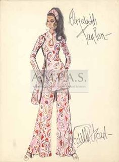 Edith Head Oscar Collection | drawing of Elizabeth Taylor wearing a pantsuit with wide legs and a ...