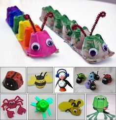 DIY kids crafts egg carton bugs to make Daycare Crafts, Preschool Crafts, Fun Crafts, Spring Craft Preschool, Easy Kids Crafts, Arts And Crafts For Kids Toddlers, Spring Toddler Crafts, Animal Crafts For Kids, Stick Crafts