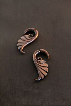 """Wooden Earrings, """"Brawa"""" Tribal Wings Fake Gauges Wood Earring Made from Rose Wood Ayu Jewelry Tribal Wings, Ear Jewelry, Unique Jewelry, Fake Gauges, Wooden Earrings, Bone Carving, Turkish Towels, Tribal Fashion, Bridesmaid Gifts"""