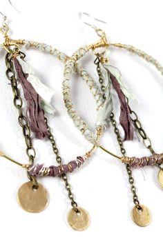 Big Hoop Earrings Hippie Earrings Bohemian by DeerGirlDesigns