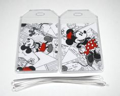 Luggage Tags Set of 2 Mickey & Minnie Mouse by BostonLinz on Etsy, $8.00