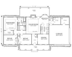 First Floor Plan of Bungalow   Country   Craftsman   Ranch   Traditional   House Plan 74725
