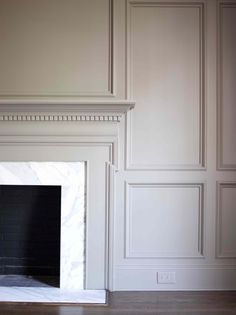 Nine Fabulous Benjamin Moore Warm Gray Paint Colors - laurel home classic fireplace mantel and wall paneling painted in Benjamin Moore Revere Pewter Fireplace Wall, Fireplace Surrounds, Fireplace Design, Fireplace Moulding, Wall Molding, Painted Fireplace Mantels, Fireplace Drawing, Fireplace Kitchen, Fireplace Cover