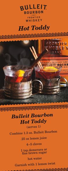 When the nights get colder, your drinks should get warmer. Grab some whiskey to take on winter with this simple Bulleit Hot Toddy recipe.  To start, fill a glass or mug with fresh boiling water and let stand. While mug warms up, cut a lemon twist and stud with 4-5 cloves. Throw out water in the mug and add fresh boiling water. Add 1 tsp demerara or fine brown sugar to dissolve. Then, add lemon and clove garnish, .25 oz lemon juice & stir. Finally, add 1.3 oz. Bulleit Bourbon and stir. Serves…