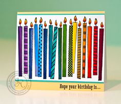 handmade birthday card ... tall thin candles in bright colors fill the card ... luv it!!