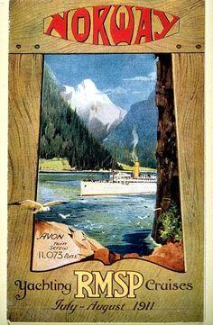 Vintage Old Transport Poster Norway