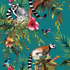Lemur by Albany - Navy - Wallpaper : Wallpaper Direct - Albany Lemur Navy Wallpaper via Wallpaper Direct. Tier Wallpaper, Navy Wallpaper, Feature Wallpaper, Tropical Wallpaper, Forest Wallpaper, Metallic Wallpaper, Wallpaper Direct, Blue Wallpapers, Animal Wallpaper