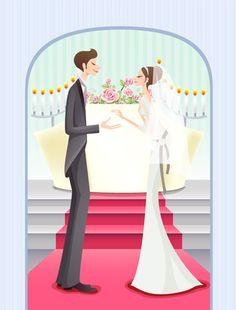 Sweet wedding set 74 vector - Vector People free download