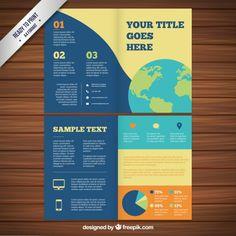 Colored brochure with world map Premium Vector - Find more at designresources.io